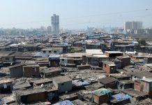 Slum against city