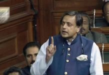 Shashi Tharoor in the Lok Sabha