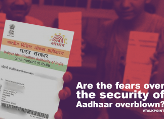 A graphic showing a representational image of an Aadhaar card