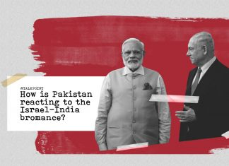 Graphic showing Israel PM Benjamin Netanyahu and Indian Prime Minister Narendra Modi