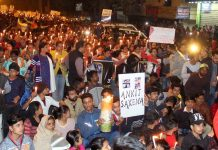 Candle march for Ankit Saxena