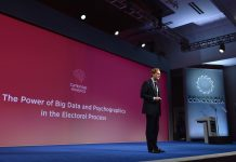 CEO of Cambridge Analytica Alexander Nix speaks at a summit in New York in 2016