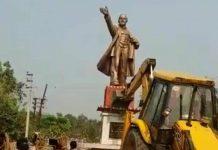 Lenin's statue being toppled in Tripura