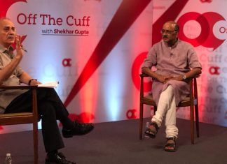 Arun Shourie and Shekhar Gupta on the stage of OTC
