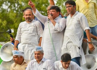 AAP MP Sanjay Singh with party workers | PTI Photo/Kamal Kishore