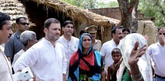 Congress President Rahul Gandhi interacts with the villagers, in Amethi | PTI