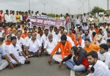 Maratha Kranti Morcha activists block the Pune-Solapur highway during a protest | PTI