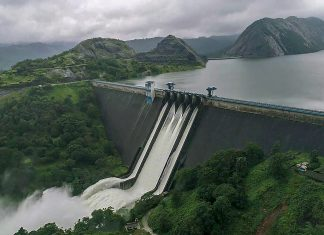 A view of the Idukki Dam as water level continued to rise in Kerala | PTI