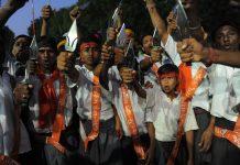 Bajrang Dal volunteers | SAM PANTHAKY/AFP/GettyImages