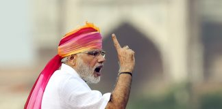 File photo of Prime Minister Narendra Modi giving his speech during the 70th Independence Day celebration at Red Fort, 2016 | Arvind Yadav/Hindustan Times via Getty Images