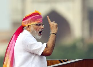 File photo of Prime Minister Narendra Modi giving his speech during the 70th Independence Day celebration at Red Fort, 2016   Arvind Yadav/Hindustan Times via Getty Images