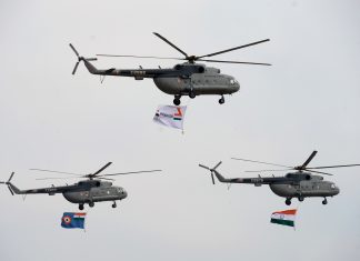 Mi17 V5 helicopters of the Indian Air Force at 'Aero India' | MANJUNATH KIRAN/AFP/Getty Images