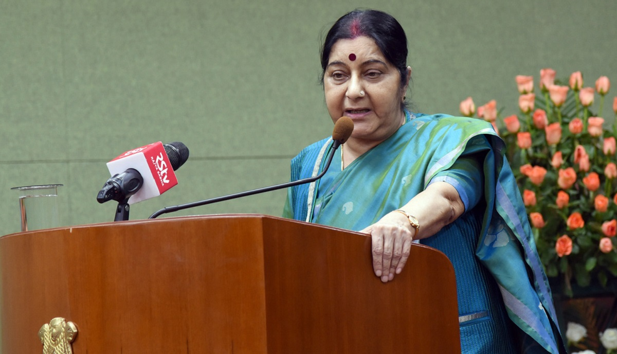 Rahul should give up SPG cover if he thinks terrorism isn't a poll issue: Sushma Swaraj