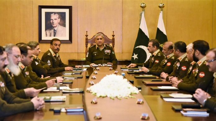 File photo of Chief of Army Staff, General Qamar Javed holding a meeting with army officials | @OfficialDGISPR/Twitter