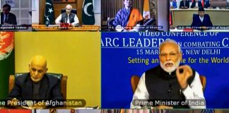 Prime Minister Narendra Modi during a video conference with SAARC leaders on chalking out a plan to combat the COVID-19 Novel Coronavirus, in New Delhi   PTI