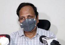 Delhi Health Minister Satyendra Jain speaks briefs media, in New Delhi on Wednesday.   ANI