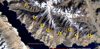 Pangong lake area and its eight fingers marked out, near LAC   Abhijit Iyer-Mitra   Twitter