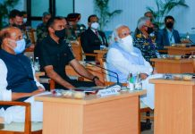 Prime Minister Narendra Modi and Defence Minister Rajnath Singh at Combined Commanders Conference in Gujarat's Kevadia on 6 March 2021   PIB