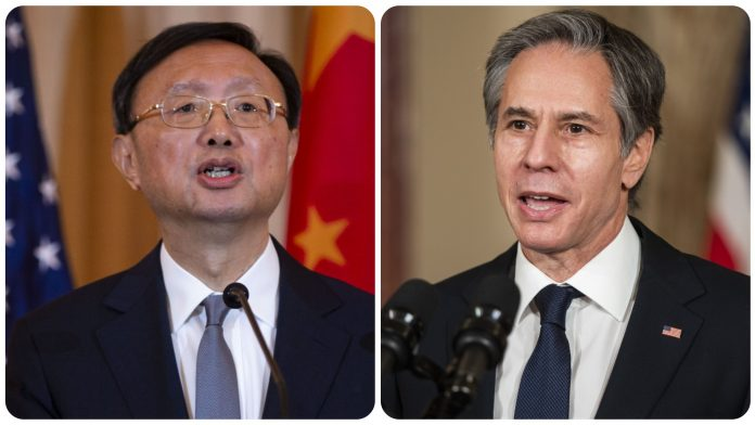 China's Politburo member Yang Jiechi (L) and US Secretary of State Antony Blinken | Bloomberg photo
